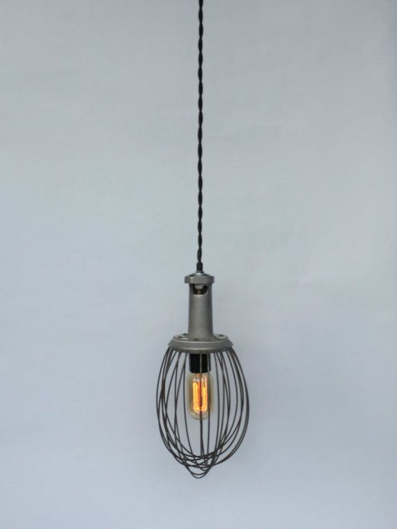 Industrial Whisk Lamp Reclaimed Lighting by ModernArtifactDecor