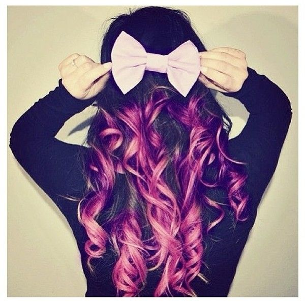 Purple dip dye hair with a cute bow Dip dye hair ❤ liked on Polyvore featuring beauty products, haircare, hair, hairstyles, beauty and girls