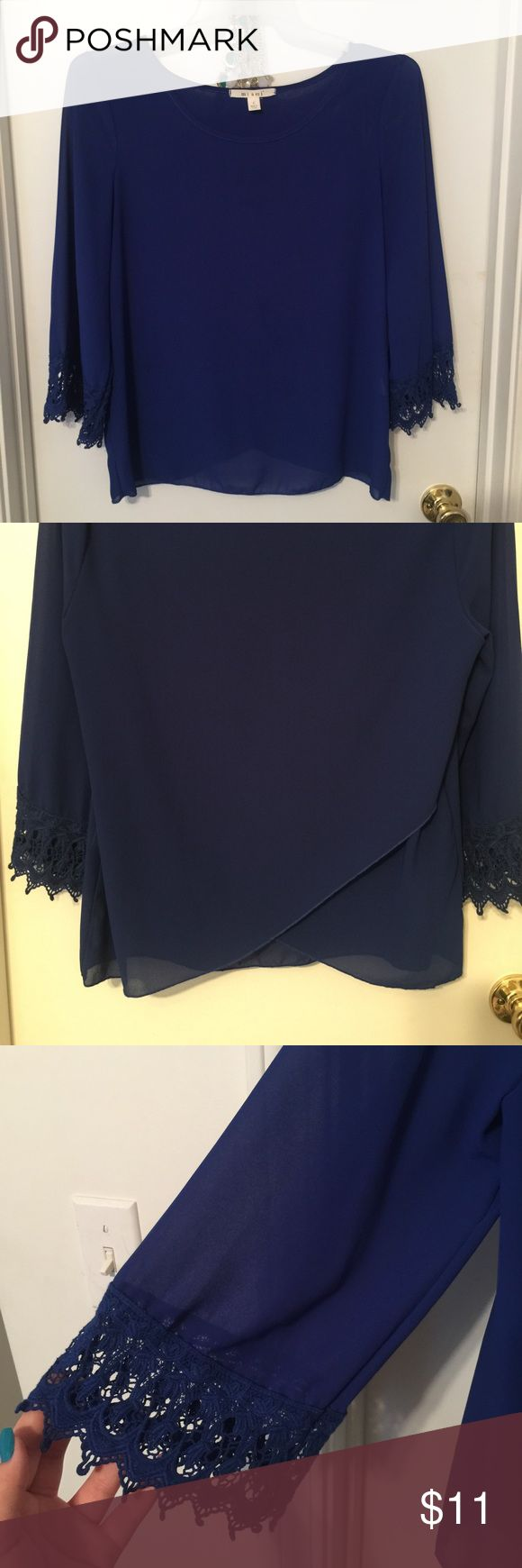 Francesca's collection long sleeve  Size Large Beautiful navy blue blouse with unique back(shown in 2nd picture)-doesn't open up fully to show entire back but does have a slit- end of sleeves are crochet and third picture shows the thin material (this is beautiful with a white bandeau underneath :) ) Francesca's Collections Tops Blouses