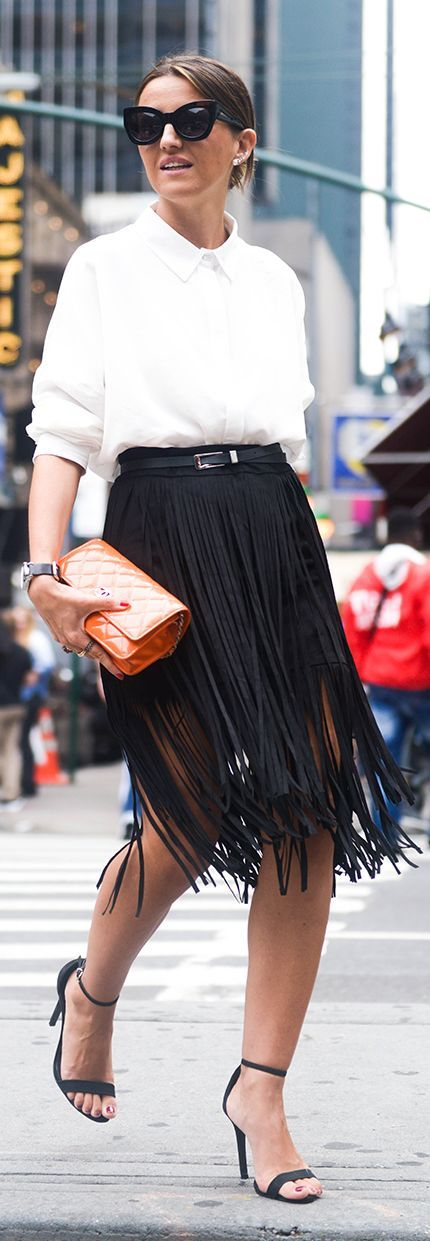 Black Fringe Skirt N Y F W Fall Inspo by Lovely Pepa