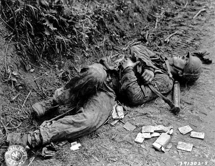 Dead German soldier. WW2  Signal Corps photograph.