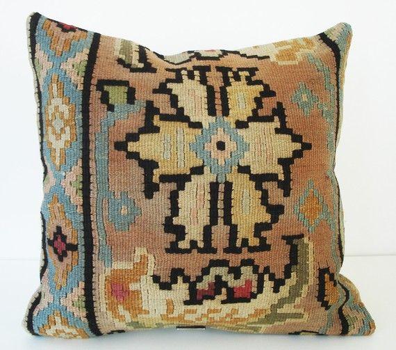 neutral floral kilim pillow