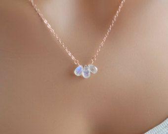 Simple de joyería, collar de piedra de luna arco iris, de oro y piedras preciosas semipreciosas, delicado trío, rosa cadena oro, envío gratis