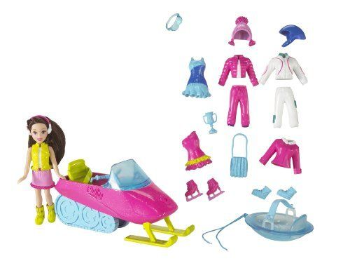 Polly Pocket Chill N Slide Playset by Mattel. $34.50. Set includes a Polly Pocket doll. Accessories include a snowmobile, snow tubing disc. Action-packed Polly Pocket Snow Sports set. Also includes two snow outfits, two skating outfits. Everything needed to hit the slopes. From the Manufacturer                Its time for winter! Polly Pocket Snow Sports features an action-packed set including doll, snowmobile, snow tubing disc, two snow outfits, two skating outfits an...