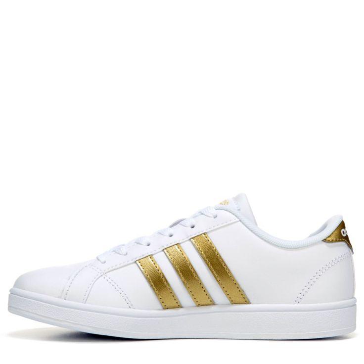 Adidas Kids' Baseline Fashion Sneaker Pre/Grade School Shoes (White/Gold) - 12.0 M