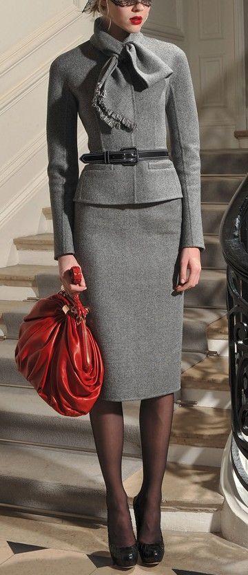 Eeeeeeek soooo gorgeous and classy.  Look the part!! slim fit suits. Grey wool. Pencil skirt. Red bag