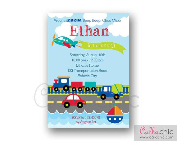 Transportation Invitation PRINTABLE - Boy Birthday Invite - Car Plane Train Truck Boat Vehicle