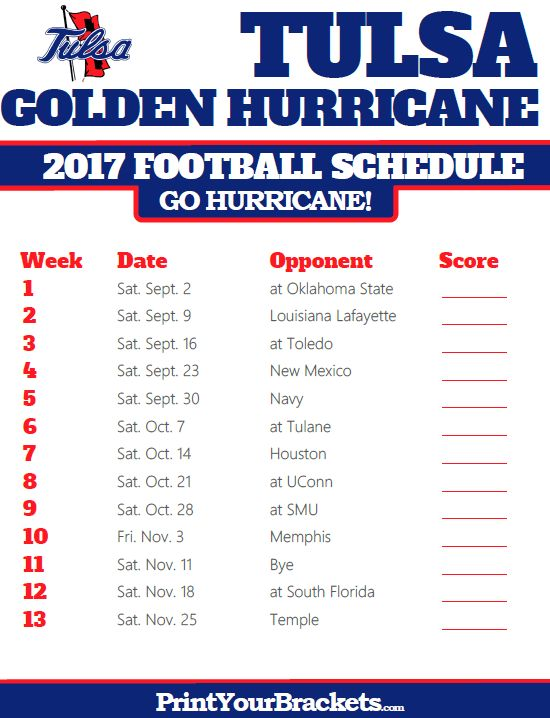 2017 Tulsa Golden Hurricane Football Schedule