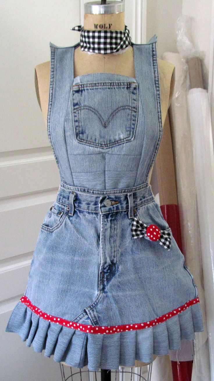 blue jean apron by lorster on etsy aprons pinterest so cute blue and jean apron. Black Bedroom Furniture Sets. Home Design Ideas