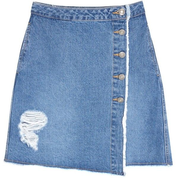 Womens Mini Skirts SJYP Destroyed Blue Denim Mini Skirt ($270) ❤ liked on Polyvore