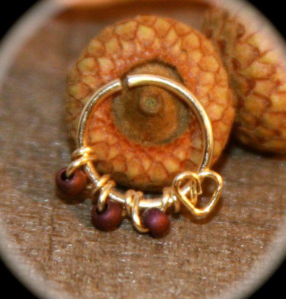 Heart Nose Ring  Heart Cartilage Ring Nose Hoop by BirchBarkDesign, $14.95