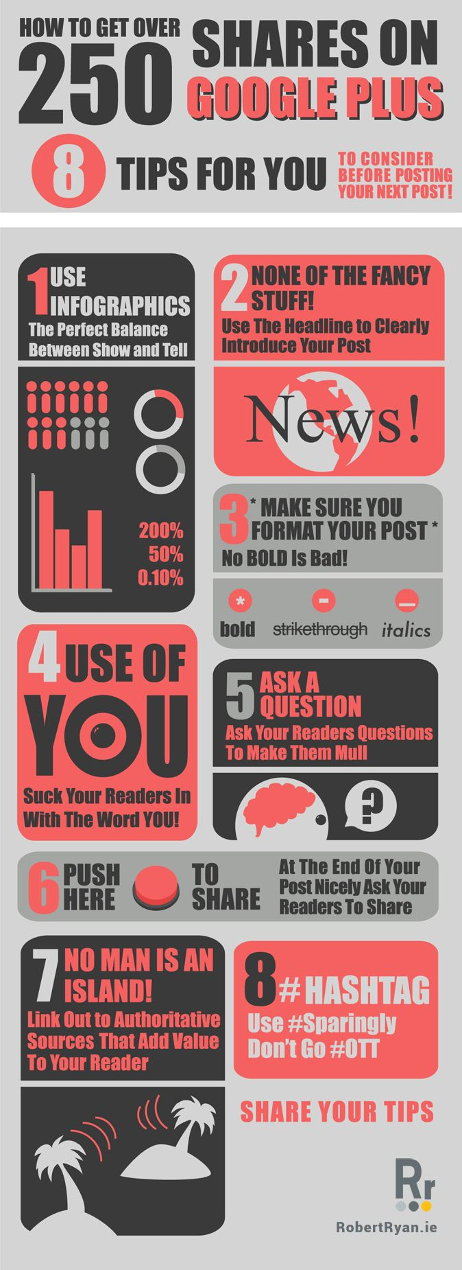 How To Get Over 250 Shares On Google Plus - 8 Tips For You To Consider Before Posting Your Next Post! #infographic