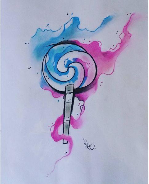 Water color Large Popsicle Design. Artist: Kegan Neuper.  Style Ink Tattoos