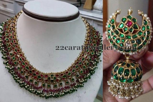 Jewellery Designs: Emerald Kundan Set Ethnic Jhumka