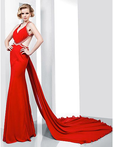 Trumpet/ Mermaid V-neck Floor-length Chiffon Evening Dress With Removable Court Train - USD $ 199.99 - Free shipping for all