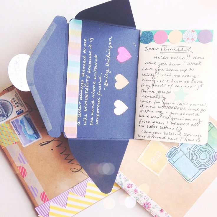 Pretty snail mail - turn an envelope template into a little letter book with washi & stickers :)