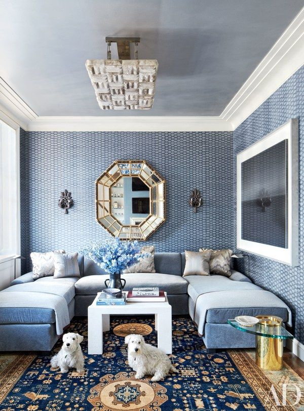 At this Michael S. Smith–designed duplex penthouse in Chicago, the sectional sofa, in a Jasper silk mohair, is by Jonas | archdigest.com