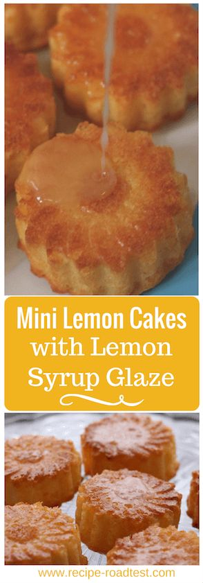 The mini lemon cakes with lemon syrup glaze are sweet and easy - bake the cakes and then drizzle the syrup over the top to soak through. Recipe on http://www.recipe-roadtest.com/mini-lemon-cakes-with-lemon-glaze/