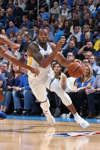 Andre Iguodala of the Golden State Warriors handles the ball against the Oklahoma City Thunder on November 22 2017 at Chesapeake Energy Arena in...