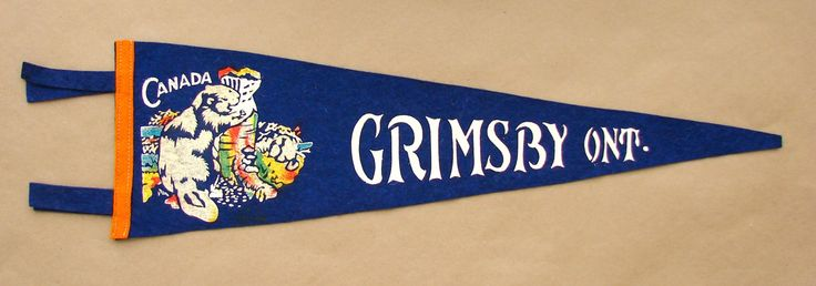 Vintage 'Grimsby, Ont. Canada' Ontario Pennant by ChrisAndJane on Etsy
