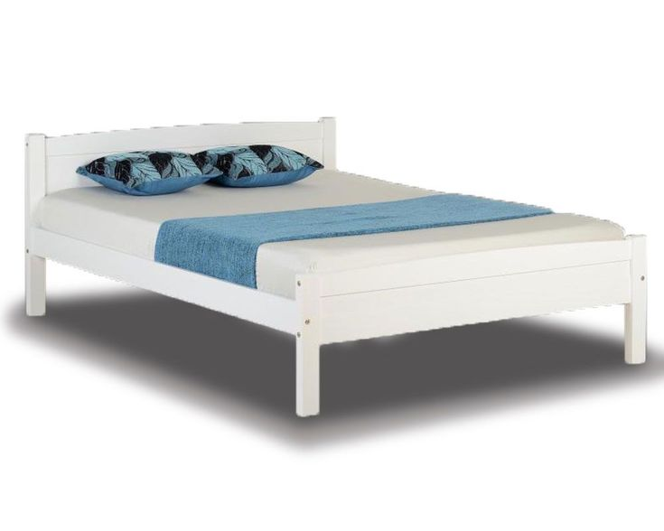 Double wooden bed frame in a white finish.Excellent value.FREE  Delivery.