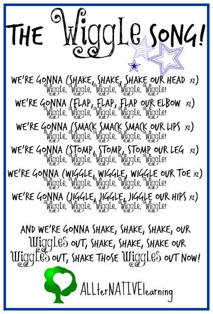 """Learning Body Parts with Toddlers and Preschoolers. Including """"The Wiggle Song"""" Printable and other songs, activities, and motor ideas! Follow @ALLterNATIVElrn {Kara Carrero} for more weekly learning themes."""