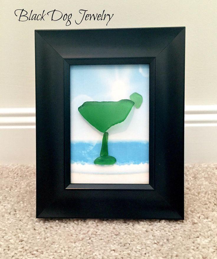 Margarita Sea Glass Art - It's 5 O'Clock Somewhere - Beach Decor - Home Decor - Seaglass Art - Beach Glass Art by BlackDogJewelrynArt on Etsy https://www.etsy.com/listing/223874291/margarita-sea-glass-art-its-5-oclock