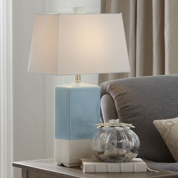 Features:  -Made of ceramic.  -Requires one bulb (not included).  Fixture Finish: -Sea Foam Green / White.  Fixture Material: -Ceramic.  Bulb Type: -Compact Fluorescent (CFL).  Base Color: -Blue. Dime