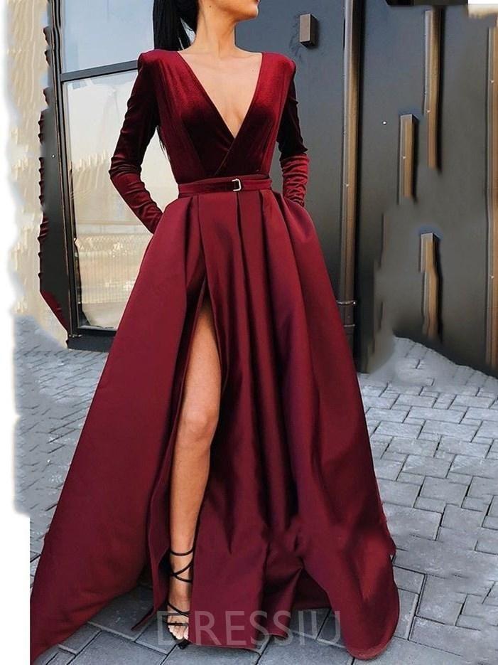 640f6788b98b Deep V Neck Long Sleeves A-Line Split-Front Satin Evening Dress in ...