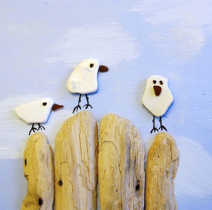Seagulls made from sea pottery, sea glass and driftwood. Could be easy to frame & note where you gathered the goods & date (family fun project)
