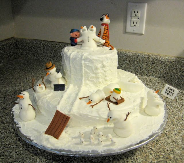 this is awesome, wish I was a kid again living where there was snow... I would make snowmen like Calvin did! Calvin and Hobbes Snowmen Cake!
