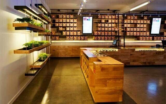 """SPARC, a San Francisco dispensary known as the """"Apple store of pot"""" won an American Institute of Architects Award in 2011. Designed by high-end architecture firm Sand Studios, SPARC's clean, modernist façade and open-shelved interior looks every bit the upscale retail outlet."""