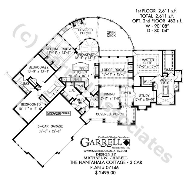 Nantahala cottage 3 car house plan house plans by Nantahala house plan