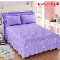 Wish   100% Cotton bedskirt Korean Princess Style Bedspread (not contain pillowcase) 150x200 / 180x200 /180x220/ 200x220 cm