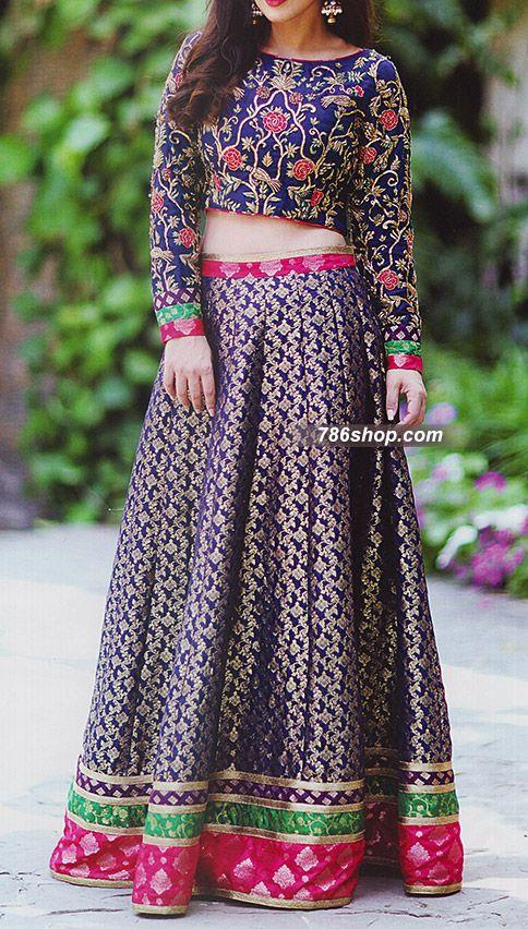 Indigo Jamawar Suit | Buy Pakistani Indian Dresses