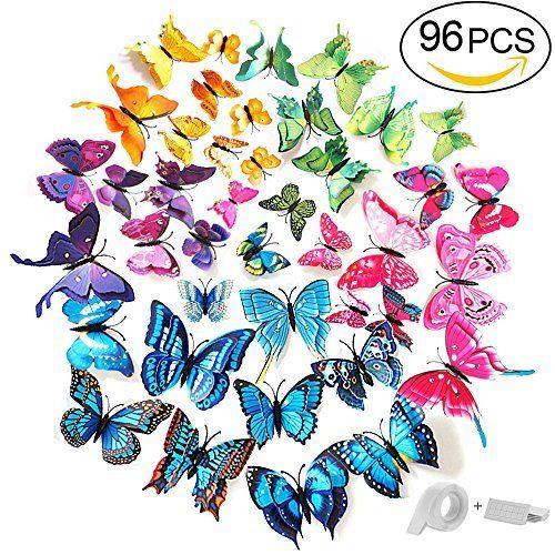 Perfect Foonii PCS D Schmetterlinge Wanddeko Aufkleber Abziehbilder schlagfestem Kunststoff Schmetterling Dekorationen Wand