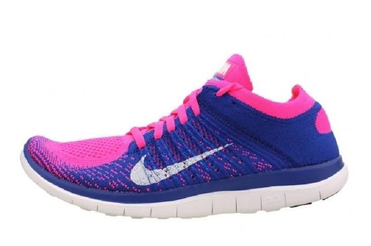 Nike Free 4.0 Flyknit Naisten Juoksukengät Sininen Pinkki