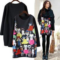 2015 осень новое поступление женщин топы свободно кот печать о-образным вырезом мода торговый большой размер футболки бесплатная доставка