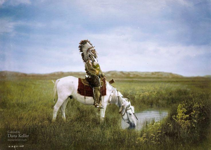 Red Hawk, de la tribu Sioux Oglala, abreuvant son cheval, 1905. photo colorisée venue du passé