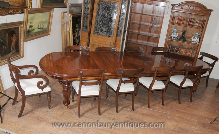 http://canonburyantiques.com/s/dining-sets/victorian-dining-sets/1/  Large extending Victorian dining table in mahogany with matching set of William IV chairs. Large range of Victorian dining tables...