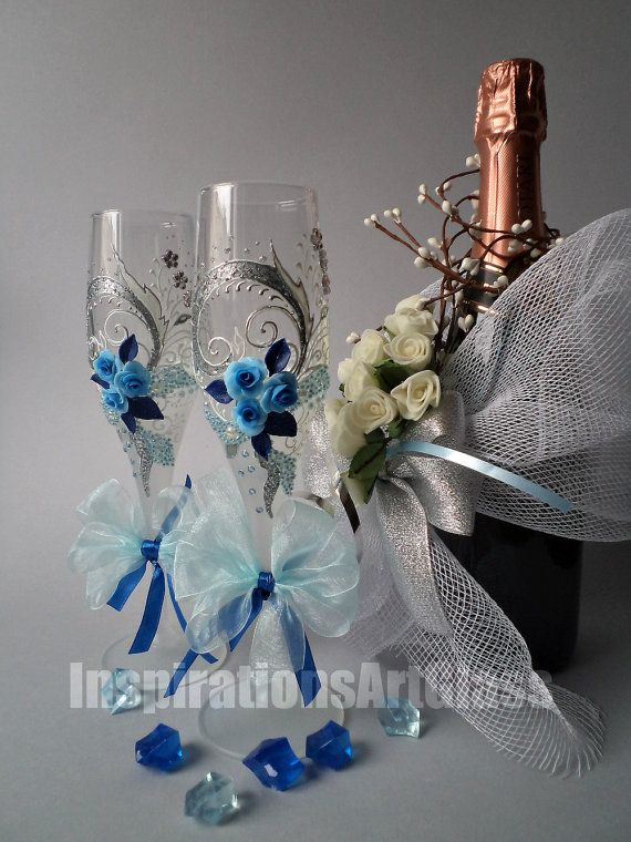Hand Painted Wedding Glasses, Champagne Toasting Flutes, Wine Glasses with Blue Roses, Unique Glasses, Set of 2