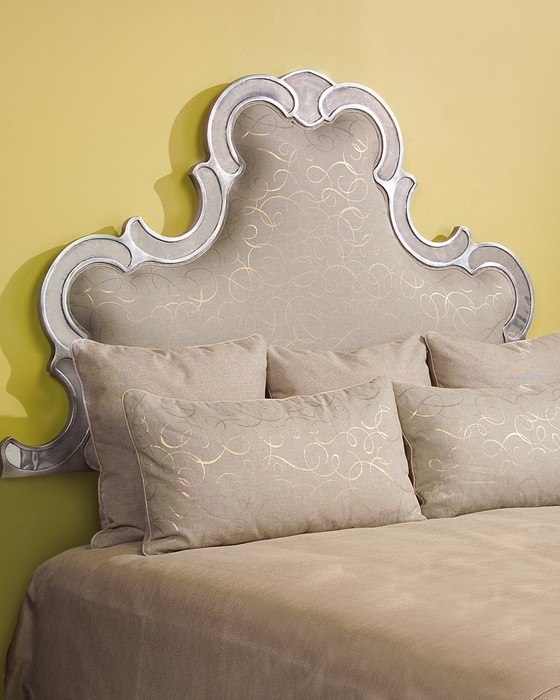 John Richard Upholstered Headboard With Scrolled Eglomise Banding