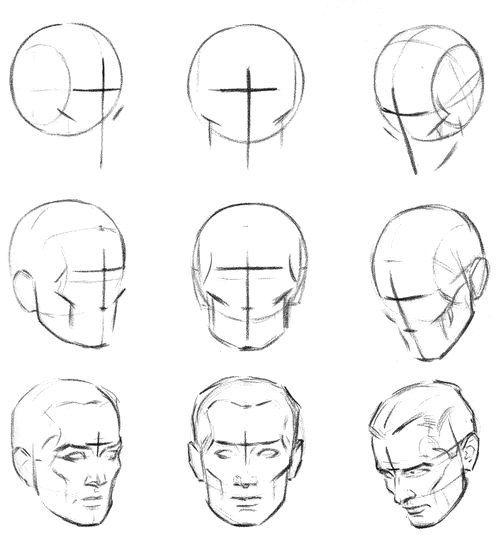 как картинки как нарисовать голову человека поэтапно труде усталости