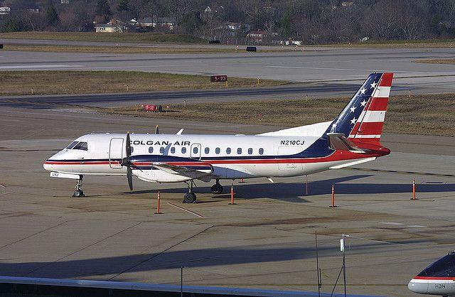COLGAN AIR, N210CJ, Saab 340 at CRW, Yeager Airport, Charleston, West Virginia, USA. Dec 2007