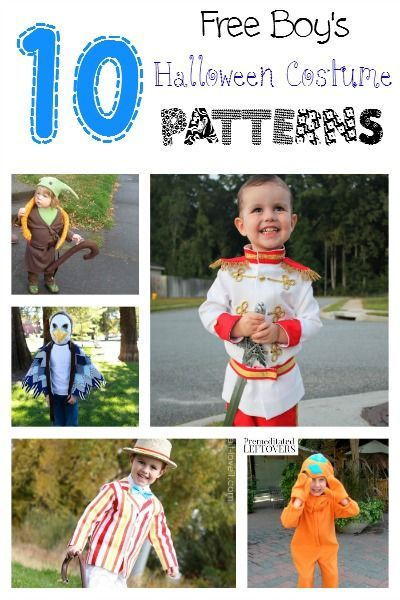 10 Free Halloween Costume Patterns for Boys - Make a homemade Halloween costume for your little boy with one of these free patterns