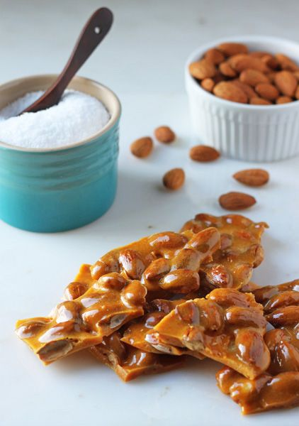 Salted Almond Brittle. Easy and made in the microwave! @Dessert For Two