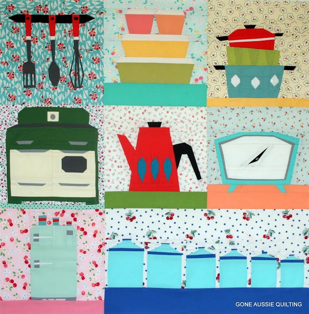 Gone aussie quilting sew retro quilt top finished paper for Kitchen quilting ideas