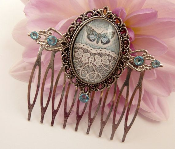 I love Schmucktruhe's Etsy Shop!  This elegant hair comb is a beautiful accessory for a festive updo. It is made of silver metal. On the front there is a jewelry holder with handmade