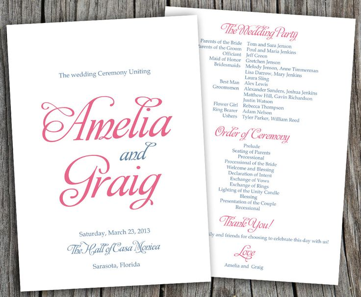 Amelia Printable Wedding Programs can be as a Fan Program or 2-sided 5x7 card. Description from etsy.com. I searched for this on bing.com/images
