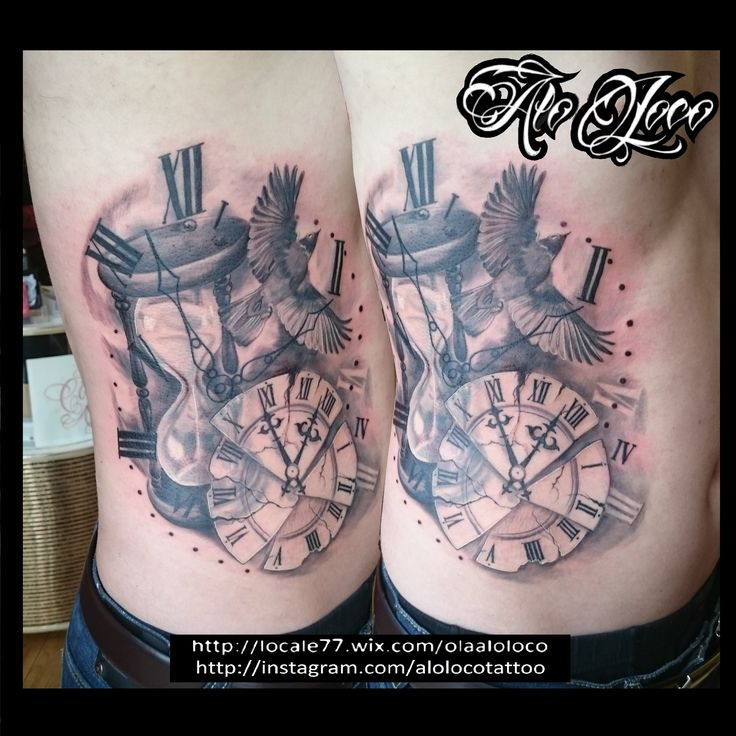 Black and grey clock bird Alo Loco London tattoo
